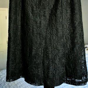 Black Lace Midi A Line Skirt